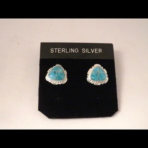 Sterling Silver and Inlaid Turquoise Stud Earrings